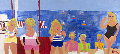 Painting - The Beach Girls by Don Larison