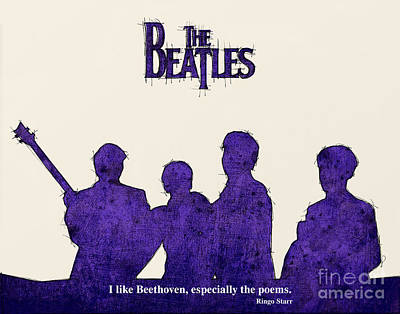 Musicians Mixed Media Royalty Free Images - The Beatles Portrait - Ringo Starr Quote Royalty-Free Image by Drawspots Illustrations