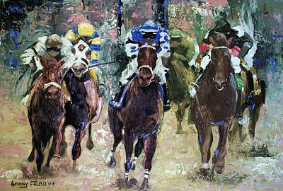 Jockeys Painting - The Bets Are On by Anthony Falbo