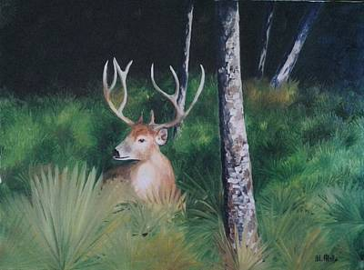 Painting - The Buck by Maria Mills