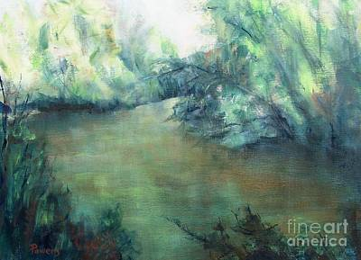 Art Print featuring the painting The Creek At Dawn by Mary Lynne Powers