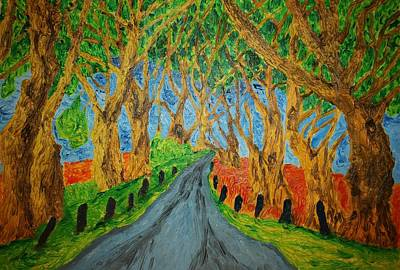 Knotted Tree Painting - The Dark Hedges by Paul Morgan