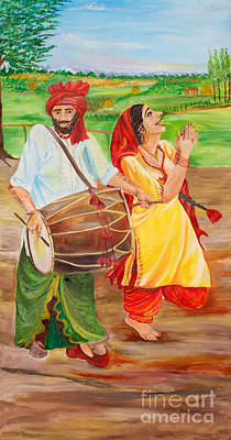 Fine Art India Painting - The Dhol Player by Sarabjit Singh
