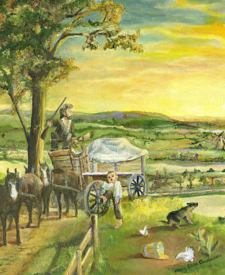 Art Print featuring the painting The Farm Boy And The Roads That Connect Us by Mary Ellen Anderson