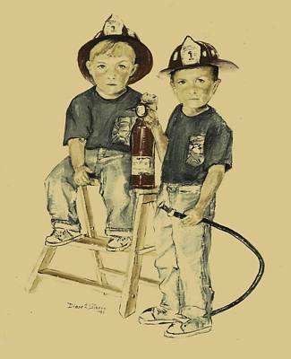 Dalmation Drawing - The Firefighters Sons by Diane Strain