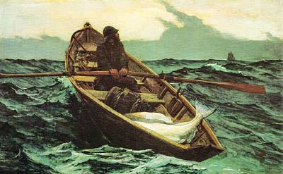 Row Boat Digital Art - The Fog Warning by Winslow Homer