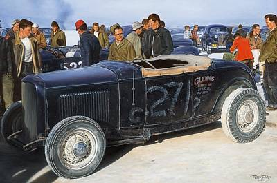Chrome Wall Art - Painting - The Frank English Roadster by Ruben Duran