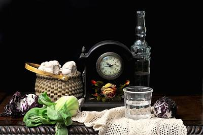 Lettuce Photograph - The Garlic Basket by Diana Angstadt