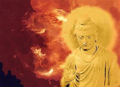 Digital Art - The Golden Buddha by Mitchell Gibson