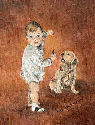 Toddler Painting - The Guilty Ones by Mary Ellen Anderson