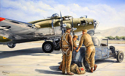 B-17 Wall Art - Painting - The Gunners by Ruben Duran