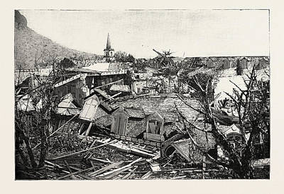 The Hurricane In Mauritius Views Of The Ruins In Port Louis Art Print by Mauritian School