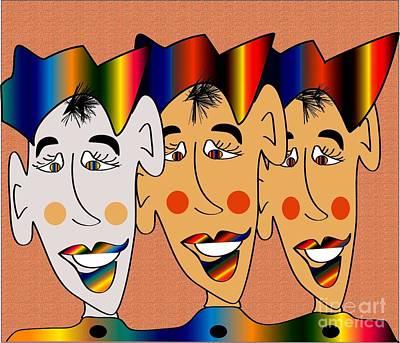 Jester Digital Art - The Jester Trio by Iris Gelbart