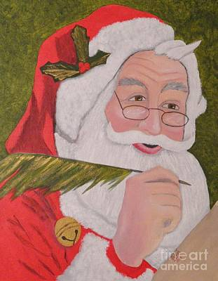 Painting - The Jolly Elf Saint Nick Checking It Twice by Tanja Beaver