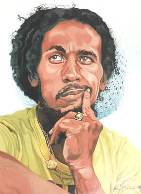 Painting - The King Of Reggae by Max CALLENDER