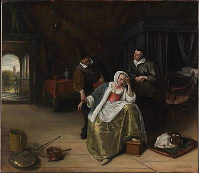 Steen Painting - The Lovesick Maiden by Jan Steen