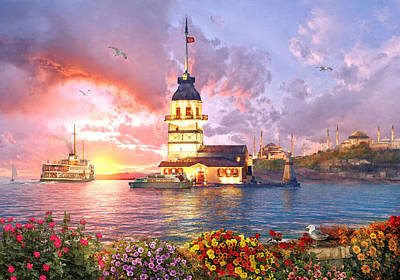 Turkey Painting - The Maiden Tower by Dominic Davison