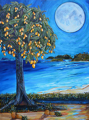 Big Moon Painting - The Mango Tree by Patti Schermerhorn