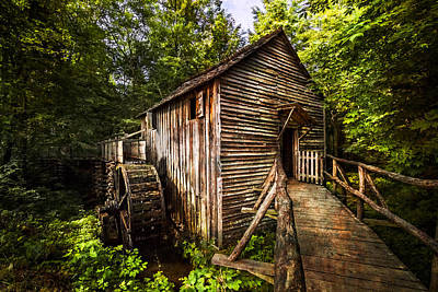 Waterwheel Photograph - The Mill At Cades Cove by Debra and Dave Vanderlaan