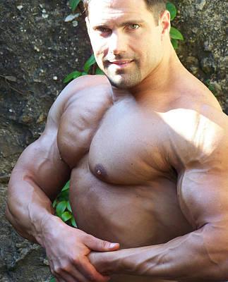 Pecs Digital Art - The Muscle Poser by Jake Hartz
