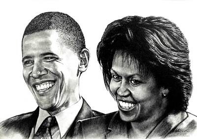Michelle Obama Drawing - The Obama's by Todd Spaur