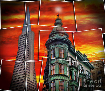 Digital Art - The Old And The New The Columbus Tower And The Transamerica Pyramid Altered by Jim Fitzpatrick
