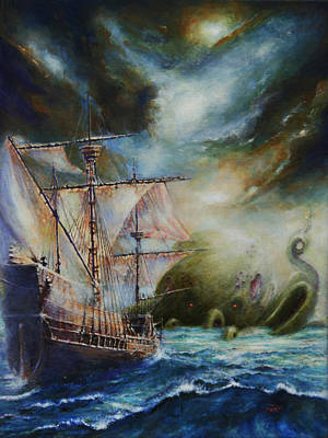 Spanish Galleons Painting - The Old Ones by Dan Henk