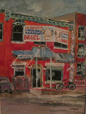 Outremont Painting - The Other Bagel Factory by Michael Litvack