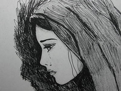 Tears Drawing - The Pain Of Parting by Donatella Muggianu