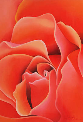 Red Abstract Photograph - The Rose, 2003 Oil On Canvas by Myung-Bo Sim