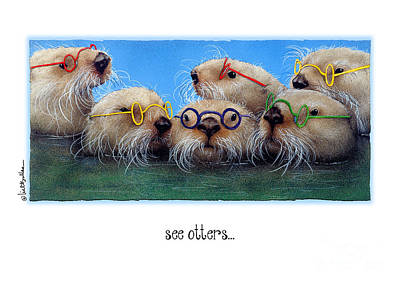 Otter Painting - The See Otters... by Will Bullas