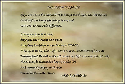 The Serenity Prayer 3 Art Print by HH Photography of Florida