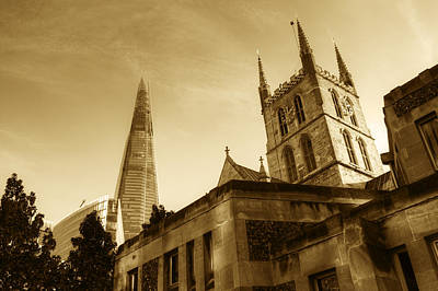 Photograph - The Shard And Southwark Cathedral by Chris Day