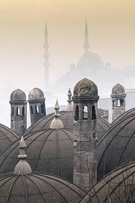 The Suleymaniye Mosque And New Mosque In The Backround Art Print