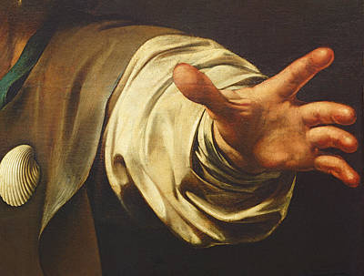 Detail From The Supper At Emmaus Art Print by Michelangelo Merisi da Caravaggio
