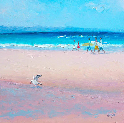 Beach Scene Painting - Bondi Surfers by Jan Matson