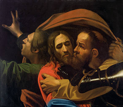 Kiss Painting - The Taking Of Christ by Michelangelo Caravaggio