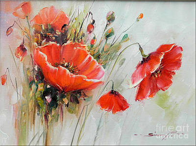 The Talk Of The Poppies Print by Petrica Sincu