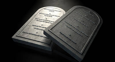 Plaque Digital Art - The Ten Commandments by Allan Swart
