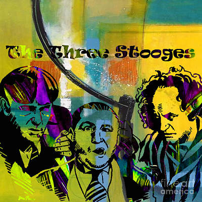 Curly Mixed Media - The Three Stooges Collection by Marvin Blaine