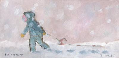 Children Painting - The Toboggan by David Dossett