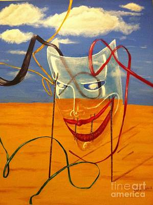 Surrealistic Painting - The Transparent Mask by Safa Al-Rubaye
