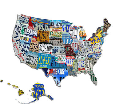 Maine Roads Digital Art - The Usa License Tag Map by Brian Reaves