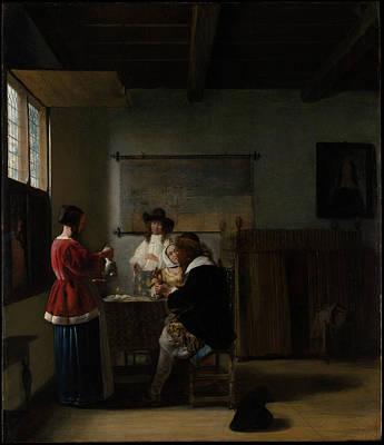 Pieter De Hooch Wall Art - Painting - The Visit by Pieter de Hooch