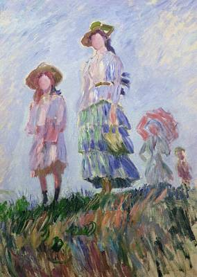 Girl 3 Painting - The Walk by Claude Monet
