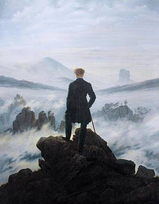 Animals Drawings - The Wanderer Above the Sea of Fog by Celestial Images