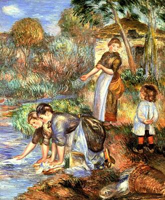 Digital Art - The Washerwoman by Pierre Auguste Renoir