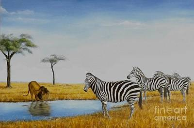 The Watering Hole Art Print by Gilles Delage