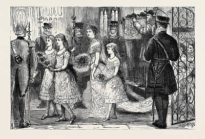 First-family Drawing - The Wedding Procession In St by English School