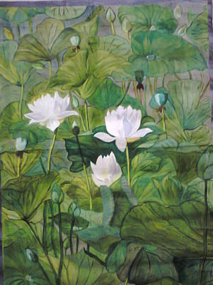 Lilly Pond Painting - The White Lotus by Uma Swaminathan